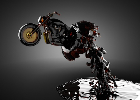 chopper bike in liquid made in 3D photo