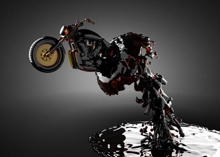 cycles: moto chopper en el l�quido que se produce en 3D