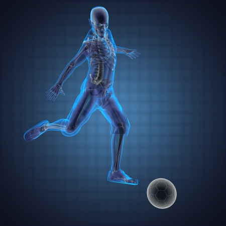 skeleton: soccer game player made in 3D Stock Photo