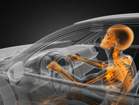 transparent car concept with driver made in 3D Stock Photo - 12609836