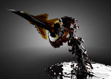 Military airplane in water made in 3D photo