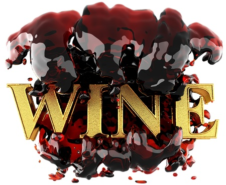 Golden word in wine made in 3D photo