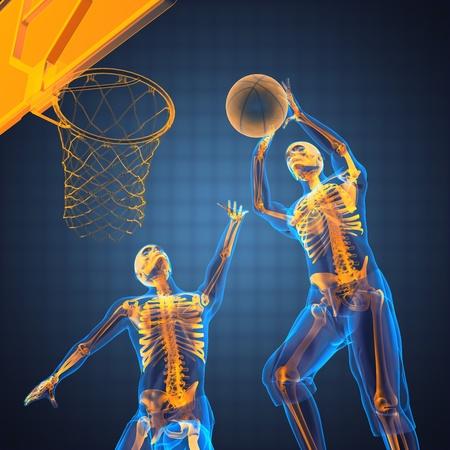 skelett mensch: Basketball-Spiel-Player in 3D gemacht Lizenzfreie Bilder