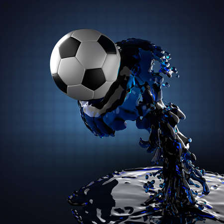soccer ball in liquid made in 3D photo