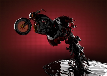 chopper bike in liquid made in 3D photo