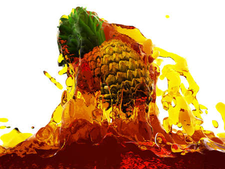 Pineapple in juice made in 3D Stock Photo - 12609857