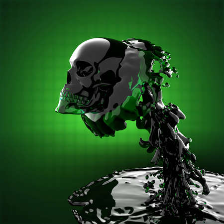 skull in liquid made in 3D graphics photo
