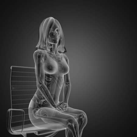 cute woman radiography made in 3D graphics Stock Photo - 12609876