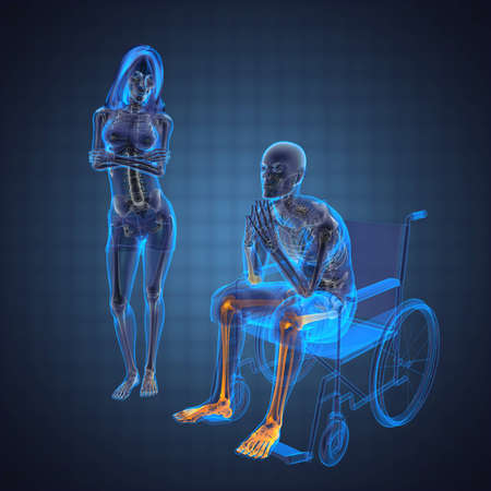 Man in wheelchair made in 3D Stock Photo - 12609875