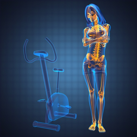 strong skeleton: woman  radiography scan in gym room made in 3D
