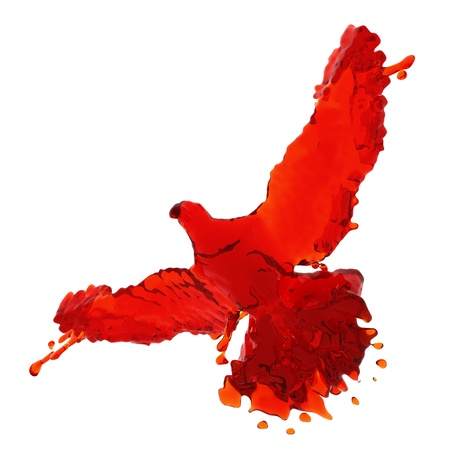 Pigeon of red liquid made in 3D graphics photo