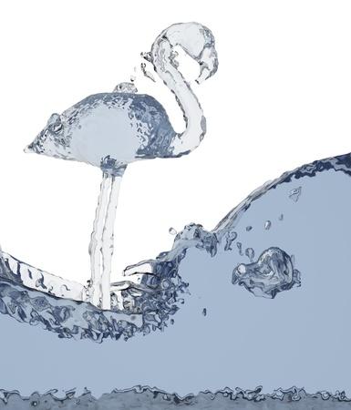 Flamingo of liquid made in 3D graphics photo