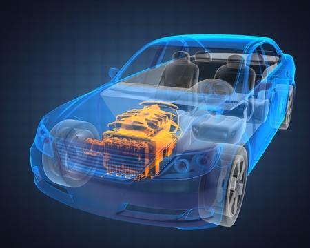 transparent 3d: transparent car concept made in 3D graphics Stock Photo