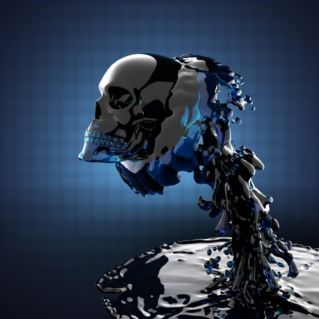 skull in liquid made in 3D graphics photo