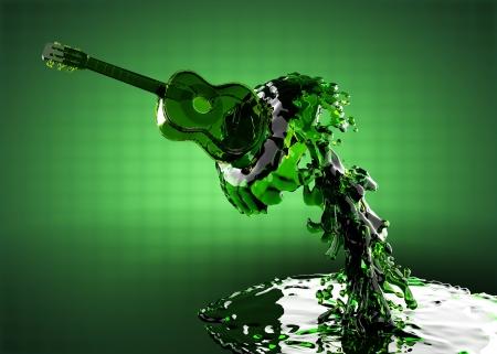folk music: Guitar in water made in 3D