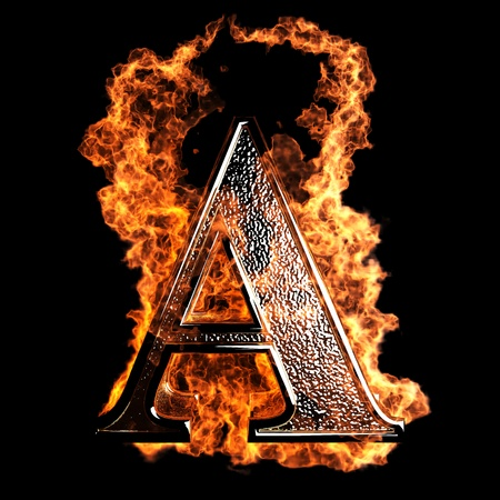 letras negras: Carta de la quema realizada en gr�ficos 3D Foto de archivo