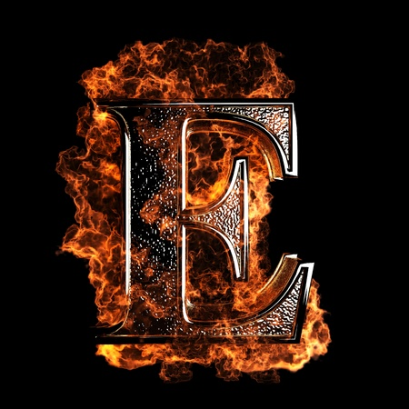 fire alphabet: burning Letter made in 3D graphics