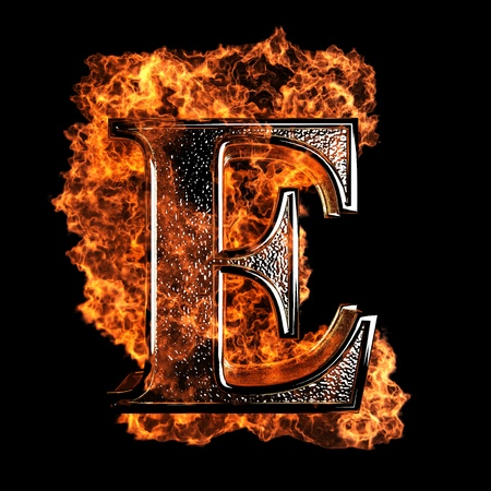 burn: burning Letter made in 3D graphics