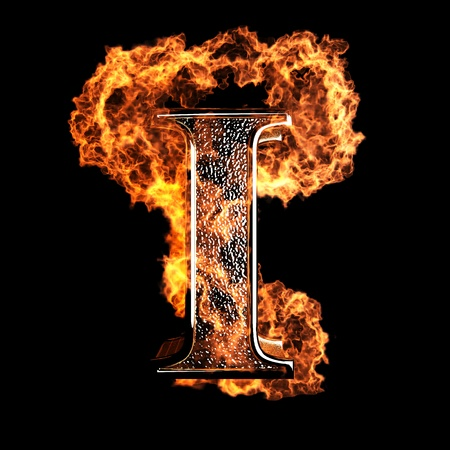 flame alphabet: burning Letter made in 3D graphics