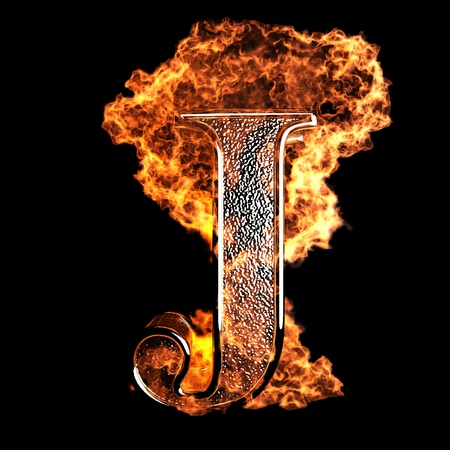 flammable: burning Letter made in 3D graphics
