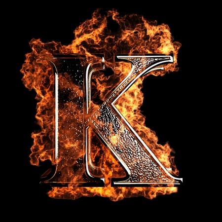 Lettera brucia realizzato in grafica 3D Archivio Fotografico