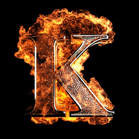 fire font: burning Letter made in 3D graphics