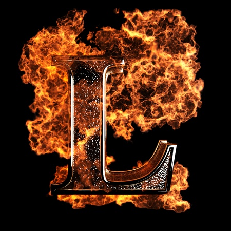 fiery font: burning Letter made in 3D graphics