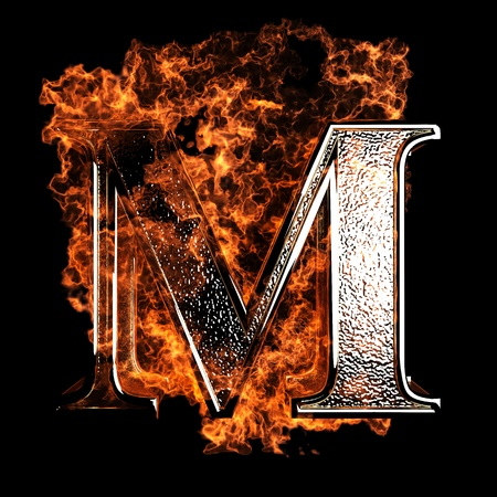 hot temperature: burning Letter made in 3D graphics