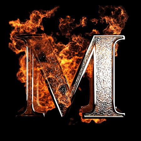 burning alphabet: burning Letter made in 3D graphics