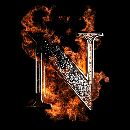 letter n: burning Letter made in 3D graphics