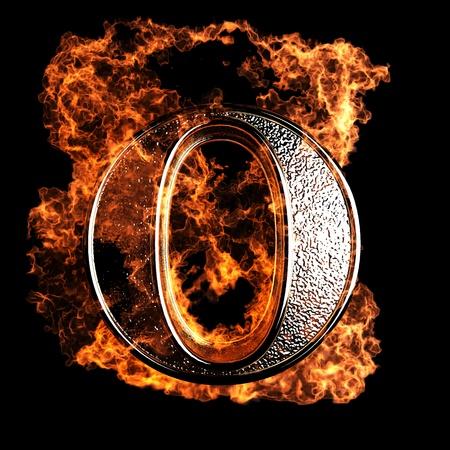 burning alphabet: burning Letter made in 3D graphics