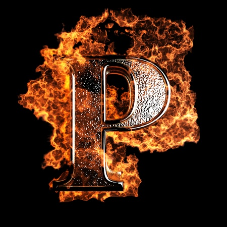 flame letters: burning Letter made in 3D graphics