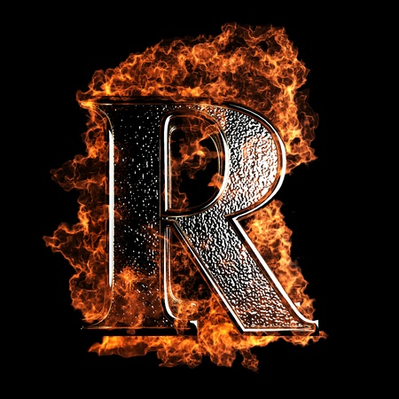 letter r: burning Letter made in 3D graphics