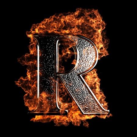 Lettera brucia realizzato in grafica 3D