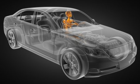 transparent car concept with driver made in 3D Stock Photo - 12870842