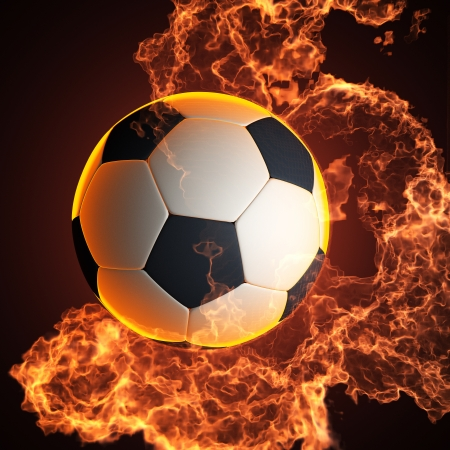soccer ball in fire made in 3D photo