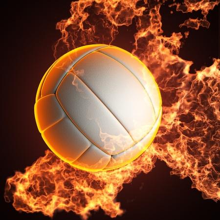balon de voley: Voleibol balón en el fuego realizados en 3D Foto de archivo