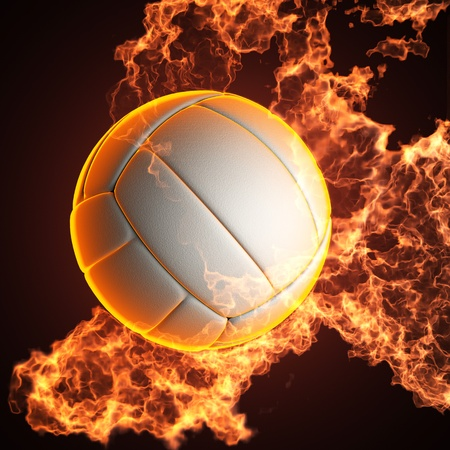 Volleyball ball in fire made in 3D Stock Photo