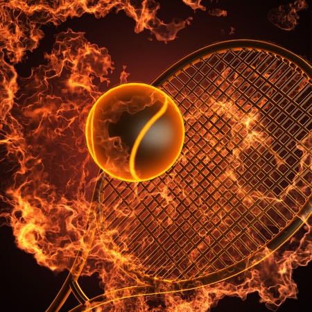 tennis serve: tennis racket in fire made in 3D