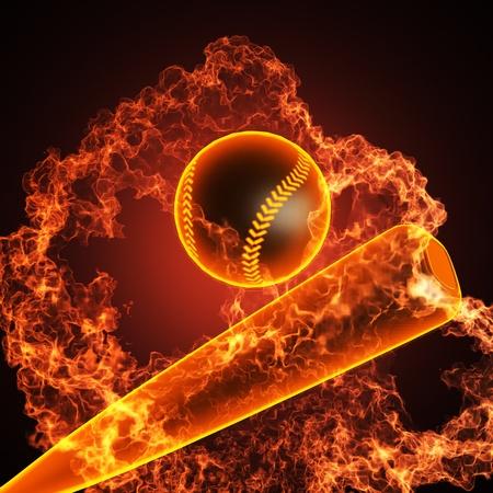 guante de beisbol: B�isbol en el fuego realizados en 3D