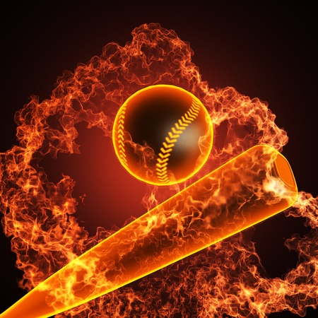 baseball swing: Baseball in fire made in 3D