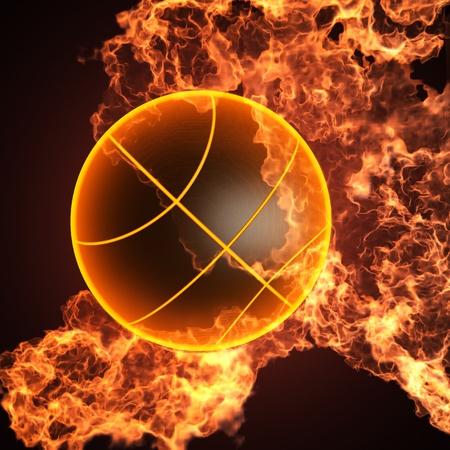 Basketbal in vuur gemaakt in 3D