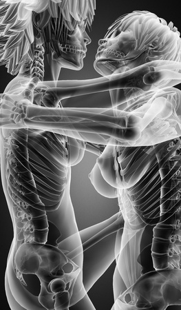 Sexy  lesbians in radiography scan made in 3d Stock Photo