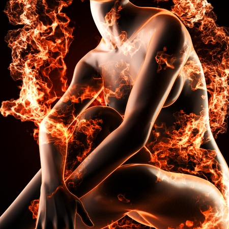 Sexy  woman in fire made in 3d Stock Photo - 13107568