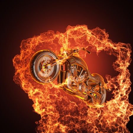 chopper bike in fire made in 3D photo