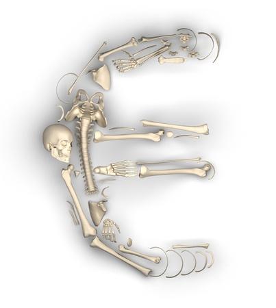 euro symbol of bones made in 3D photo