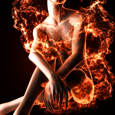Sexy  woman in fire made in 3d