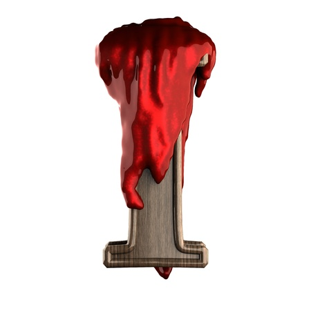 Wooden figure with blood made in 3D photo