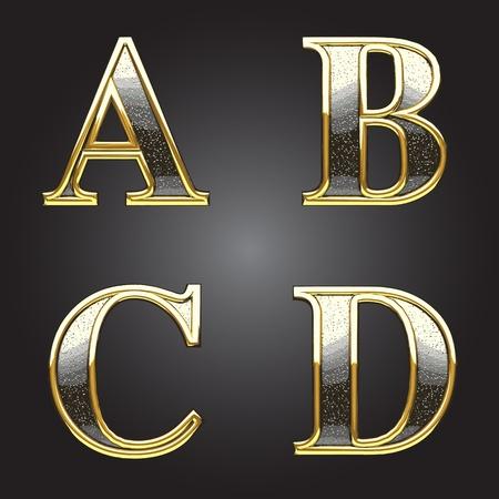 lettre de l alphabet: D'or et d'argent chiffre vecteur