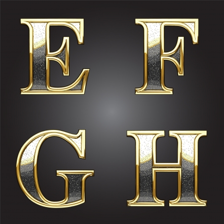 alphabet style: Golden and silver vector figure Illustration